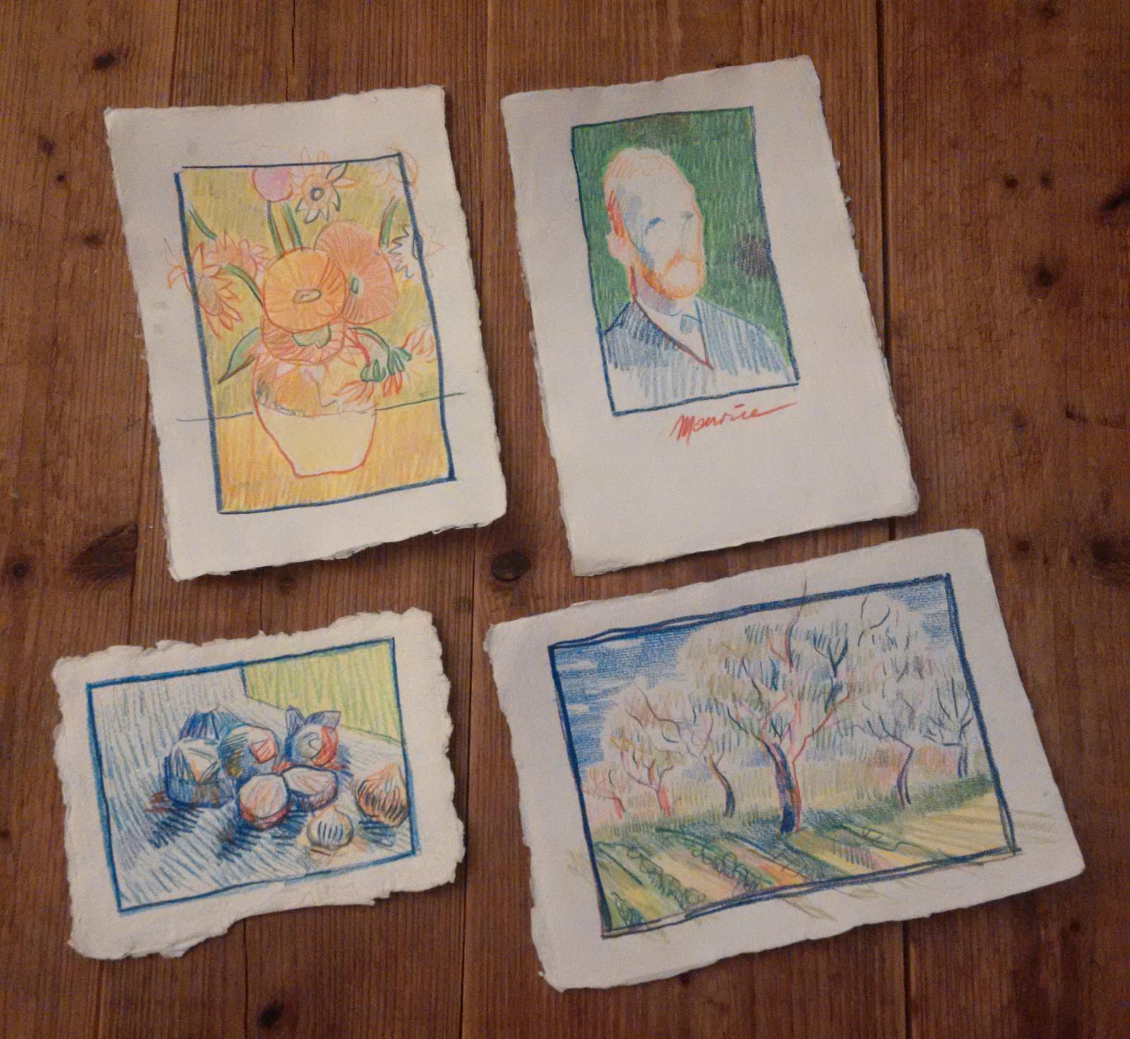Dit tekende Maurice van Tilburg dus in het Van Gogh Museum. Tijdens de fotosessie met Jeroen Poortvliet