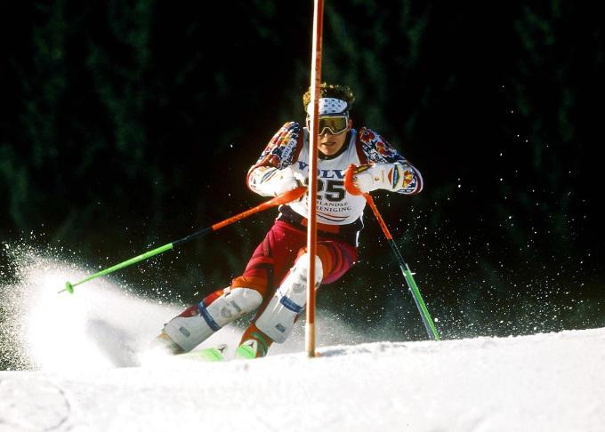 Bram van Es tijdens de Nederlandse kampioenschappen in Flachau, 1992