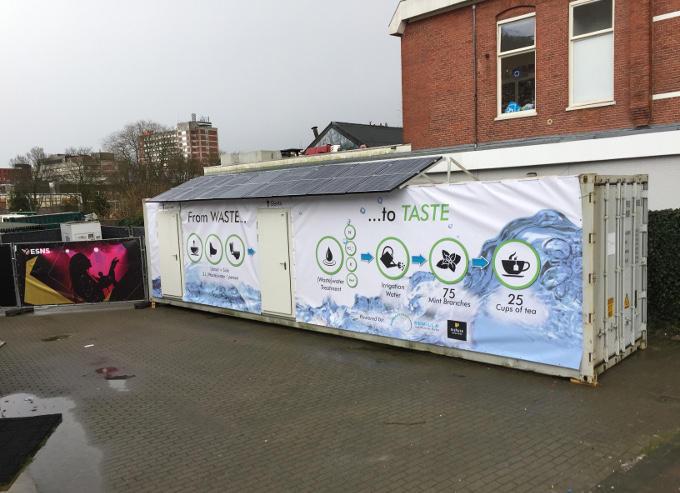 Zo ziet het prototype van de sanitation hub er nu uit