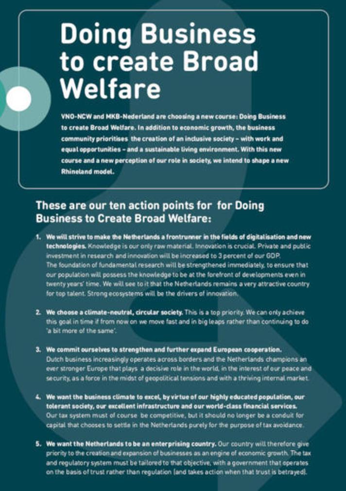 Visuele samenvatting van Ondernemen voor Brede Welvaart (infographic)