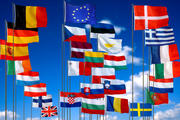 The Member States flags of the European Union of 28 Countries and the European flag (1 July 2013)
