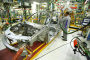 View of the assembly line of a car factory