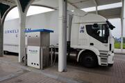 A truck to a pump at the Liquefied Biogas LNG