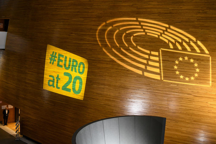 Euro at 20, for the 20th anniversary of the Euro - Projection of Euro coin logo on Hemicycle wooden wall